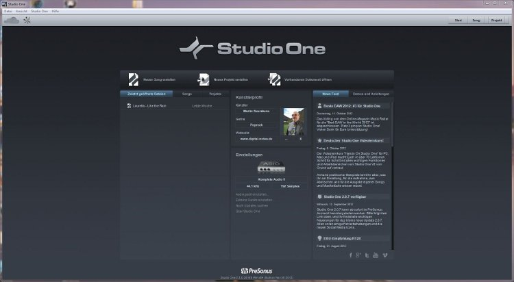 Studio One-Startbildschirm